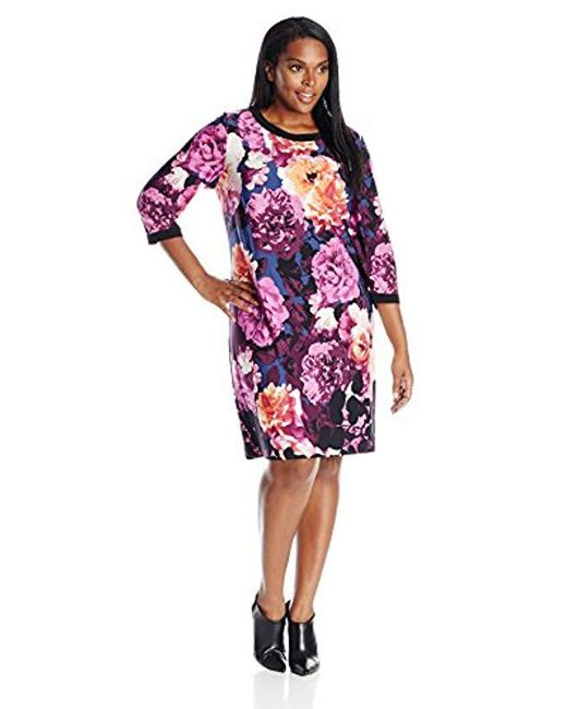 Eliza J - Multicolor Plus Size Long Sleeve Printed Shift Dress - Lyst