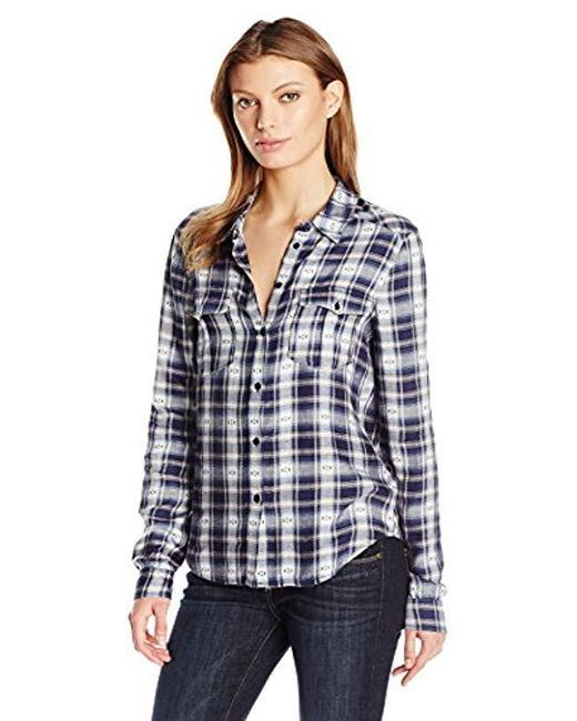 PAIGE - Mya Plaid Shirt-dark Ink Blue/bering Sea - Lyst