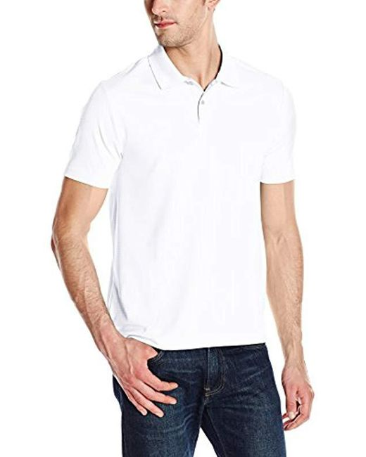 f93719e53d Lyst - Perry Ellis Two Button Stripe Texture Polo in White for Men ...