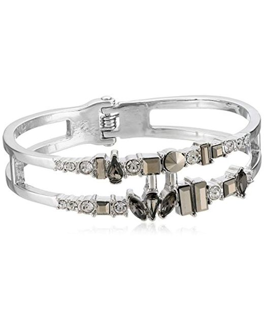 """Kenneth Cole - """"stone Cluster Metallic Mixed Metallic Faceted Stone 2 Row Hinged Bangle Bracelet - Lyst"""