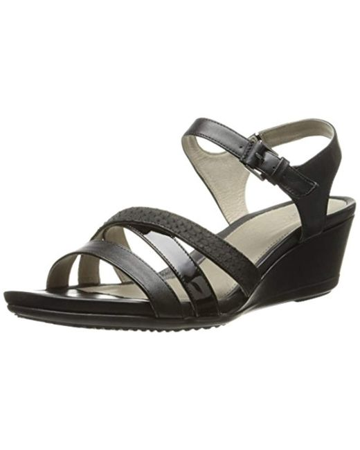 8bf8b53a0 Lyst - Ecco Touch 45 Wedge Sandal in Black - Save 11%