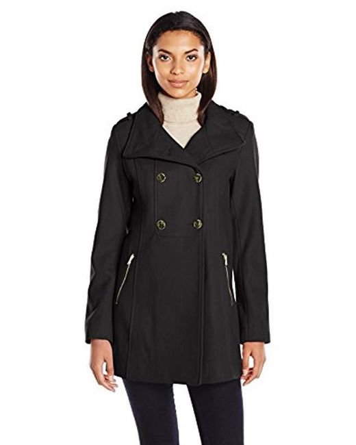 Guess - Black Melton Wool Military A Line Coat - Lyst