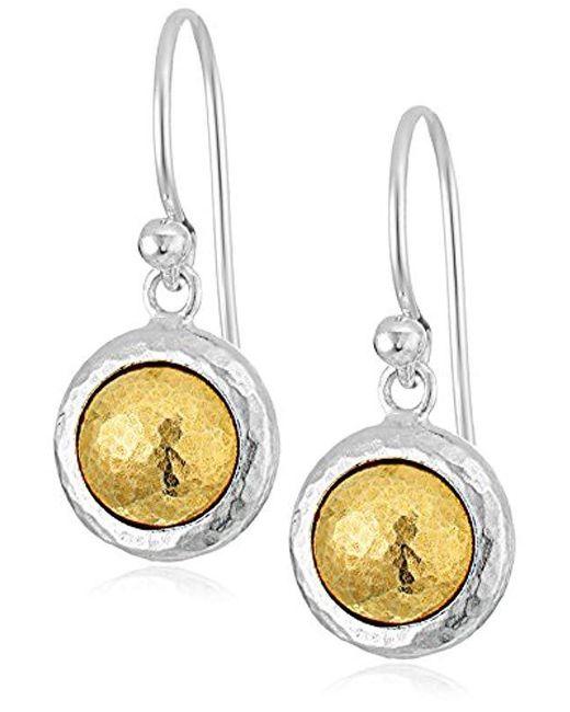 """Gurhan - Metallic """"amulet"""" Sterling Silver Round Drop Earrings - Lyst"""