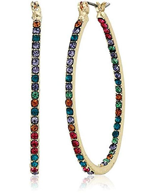Napier - Metallic Multi Colored Hoop Earrings, Gold Red - Lyst