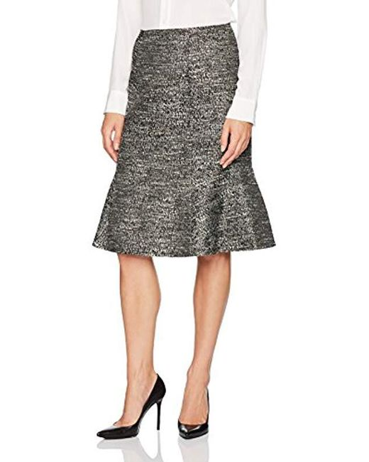 Ellen Tracy - Black Seamed Flounce Skirt - Lyst