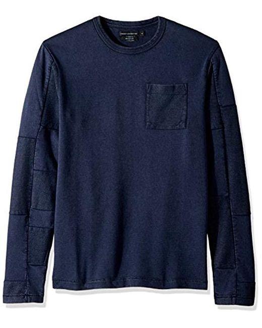 French Connection Blue Patchwork Crewneck Reg Fit Long Sleeve Shirt for men