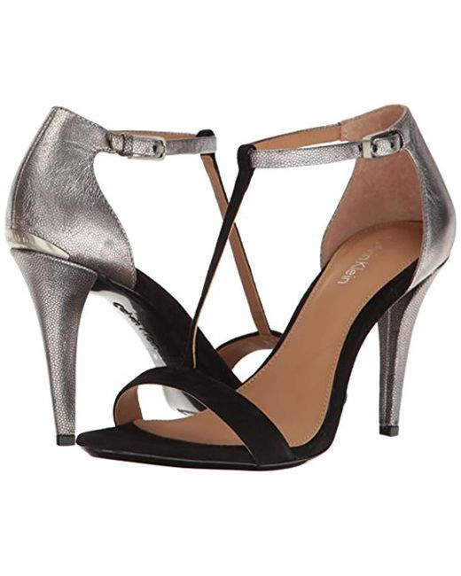 bc55171f9df Lyst - Calvin Klein Nasi Heeled Sandal in Black - Save ...