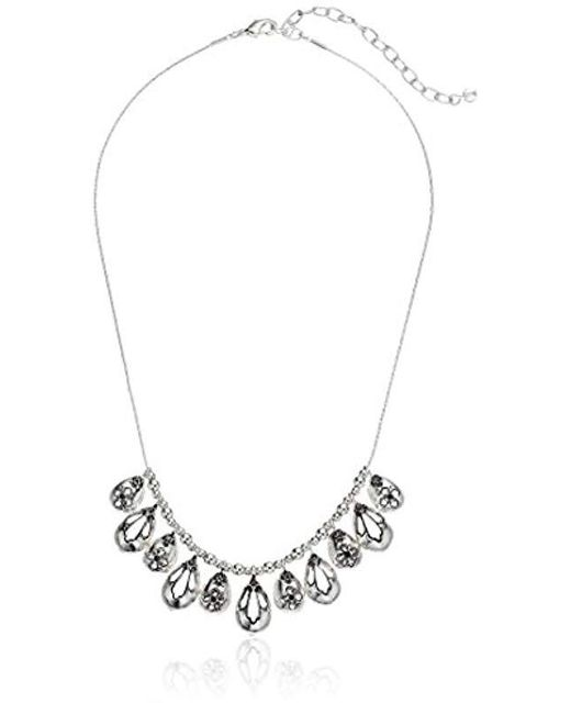 Napier - Metallic Silver-tone With Light Antique Frontal Necklace - Lyst