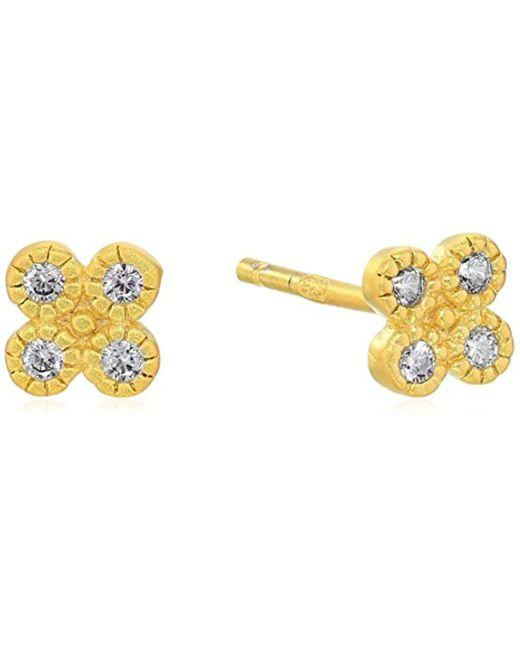Freida Rothman - Metallic S Signature Tiny Clover Stud Earrings, Gold, Size 0 - Lyst