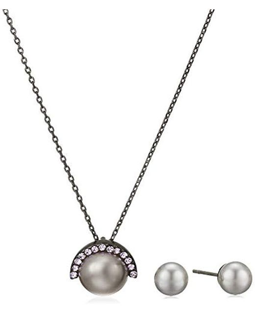 Kenneth Cole - Gray Pearl Mix Pearl Pendant Necklace And Stud Earrings Set, Grey - Lyst