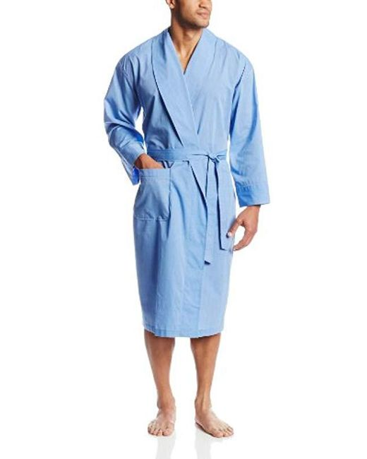 f3d4ee2526 Lyst - Hanes Woven Shawl Collar Robe in Blue for Men - Save 21%
