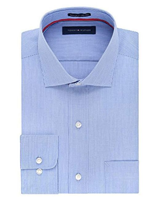 e931e786de99 Tommy Hilfiger - Men s Classic regular Fit Non-iron Blue Stripe Dress Shirt  for ...