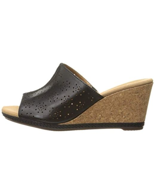 09d20a65d9f Lyst - Clarks Helio Corridor Wedge Sandal in Black - Save ...