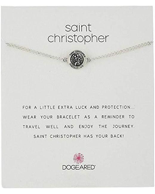 """Dogeared - Metallic St. Christopher Chain Bracelet, 6""""+2"""" Extender - Lyst"""