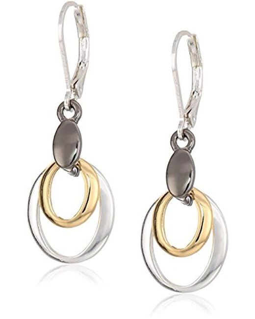 Nine West - Metallic Tri-tone Drop Earrings, Size 0 - Lyst