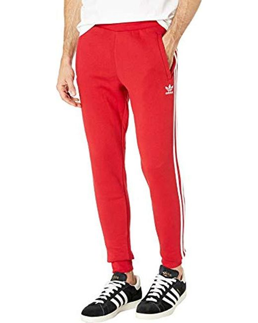 8766afaa2 Adidas Originals - Red 3-stripes Pants for Men - Lyst ...