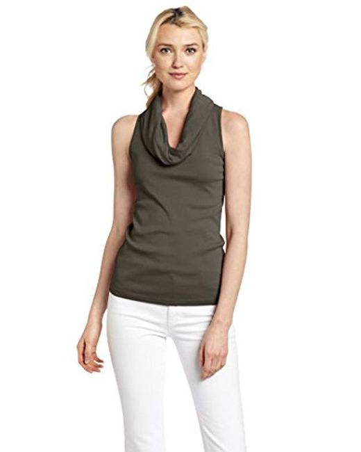 Three Dots - Multicolor Sleeveless Rolled Cowl Neck Shirt - Lyst