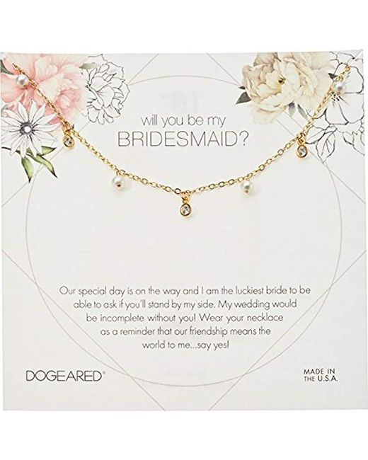 """Dogeared - Metallic Will You Be My Bridesmaid Flower Card Danggling Pearl Chain Necklace, 16"""" + 2"""" Extension - Lyst"""