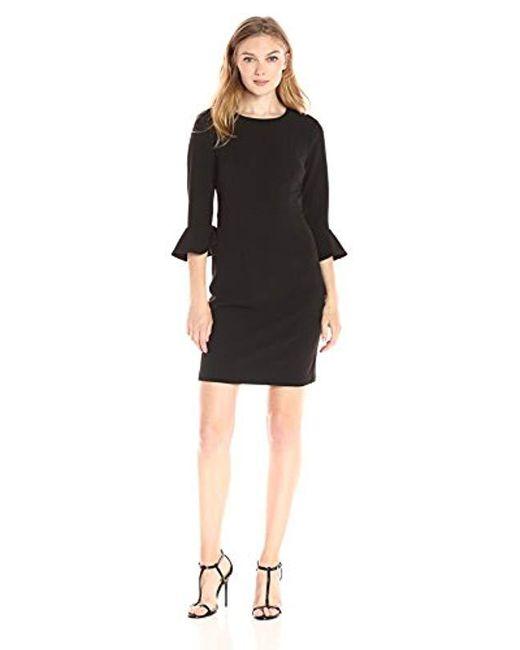 Donna Morgan - Black Kendall 3/4 Elbow Bell Sleeve Sheath Dress - Lyst