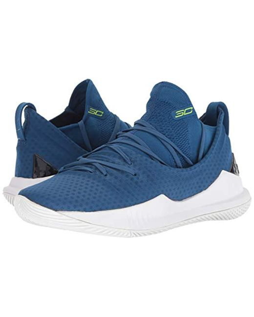 Men's Blue Curry 5 Basketball Shoe