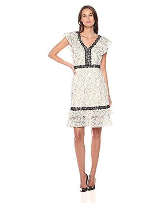 Nanette Nanette Lepore - Natural Sleeveless Lace Dress With Flounce Hem & Neckline - Lyst
