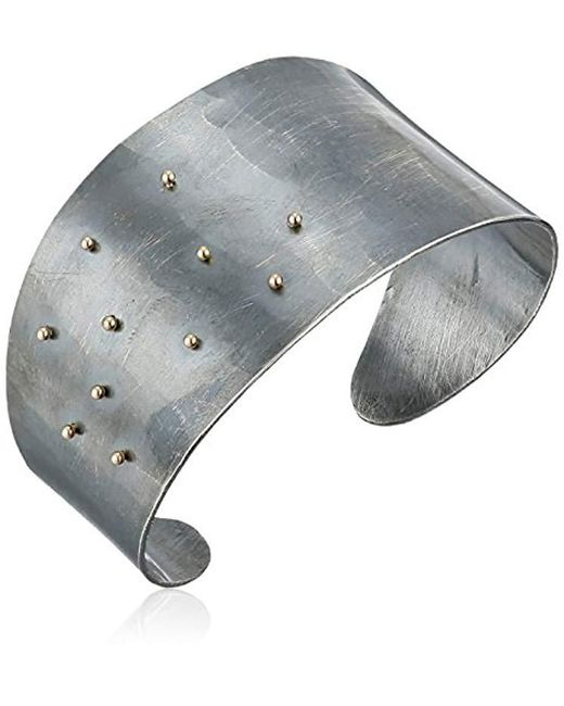 "Melissa Joy Manning - Metallic ""mixed Metals"" Gold Ball And Oxidized Sterling Silver Cuff Bracelet, 2"" - Lyst"