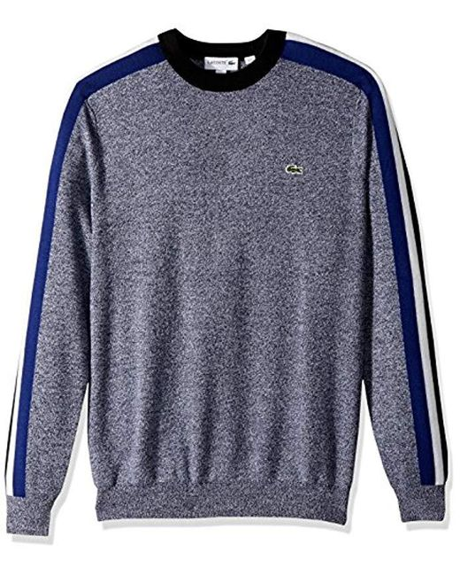 Lacoste - Blue Mouline Jersey & Jacquard Wool Blend Sweater With Stripes for Men - Lyst