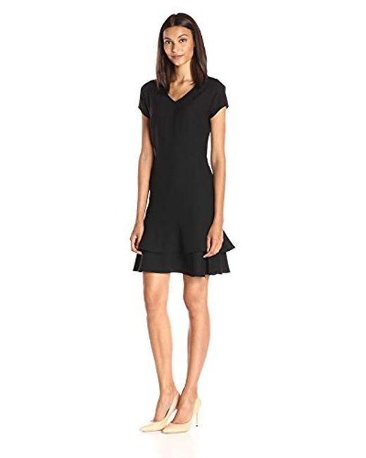 Lark & Ro - Black Tiered Flounce Hem Dress - Lyst
