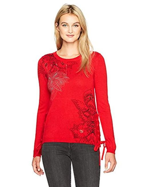 Desigual - Red Abraham Woman Flat Knitted Thin Gauge Pullover - Lyst