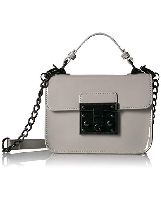 Steve Madden - Gray Handbag, Evie, Top Handle Patent Faux Leather Structured Flap Crossbody With Push Lock Closure - Lyst