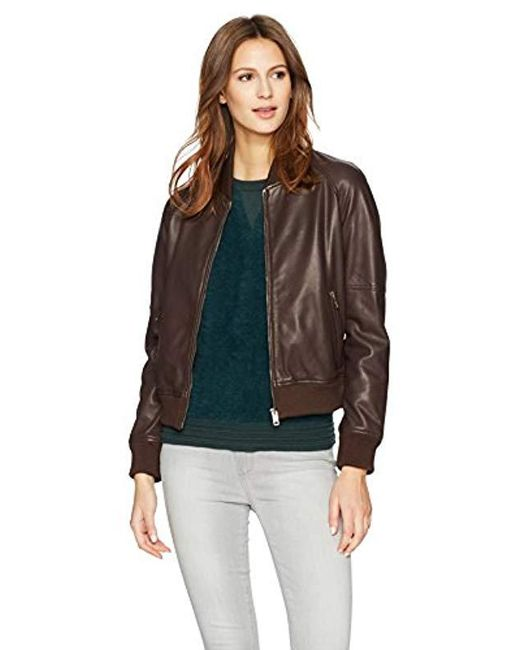 William Rast - Brown Leather Washed Baseball Jacket - Lyst