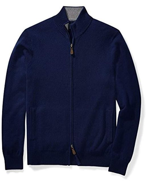 Buttoned Down - Blue Cashmere Full-zip Sweater for Men - Lyst