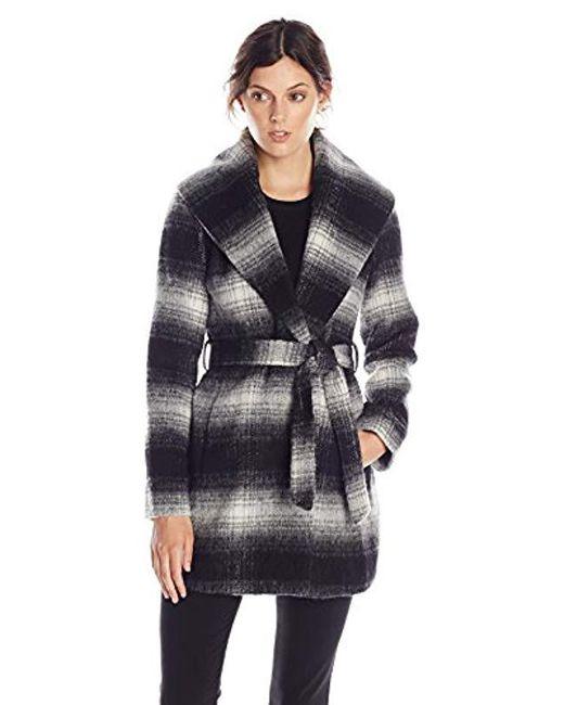 Jessica Simpson - Black Mohair Wool Plaid Wrap Coat - Lyst