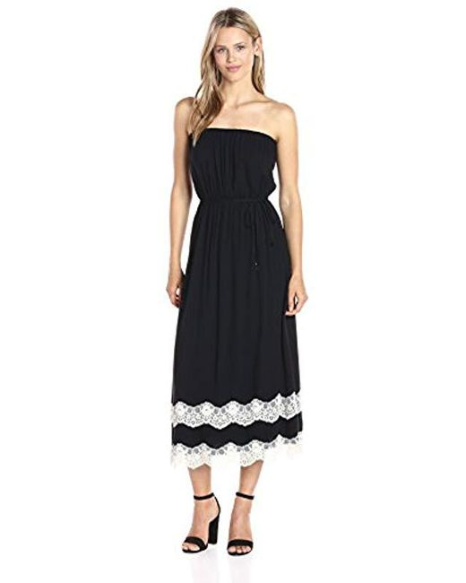 Ella Moss - Black Trinity Lace Strapless Dress, - Lyst