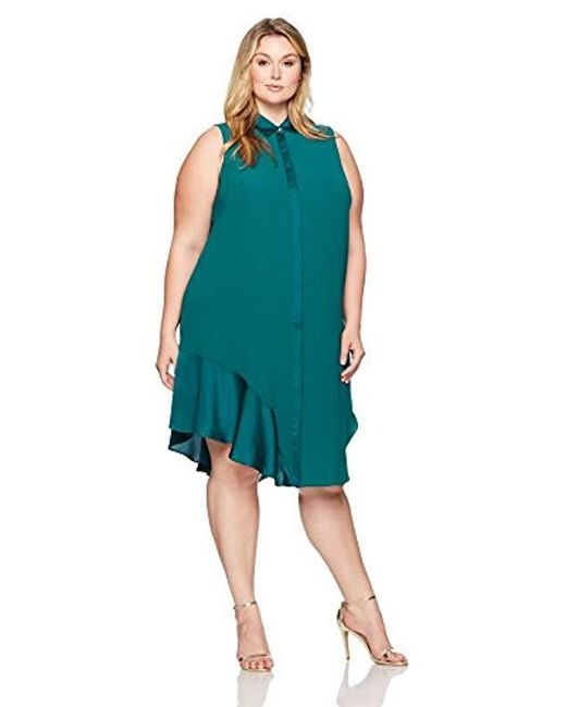RACHEL Rachel Roy - Green Plus Size Combo Shirt Dress - Lyst