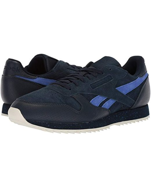 ... Reebok - Blue Classic Leather Sneaker for Men - Lyst ... c1cbfad52