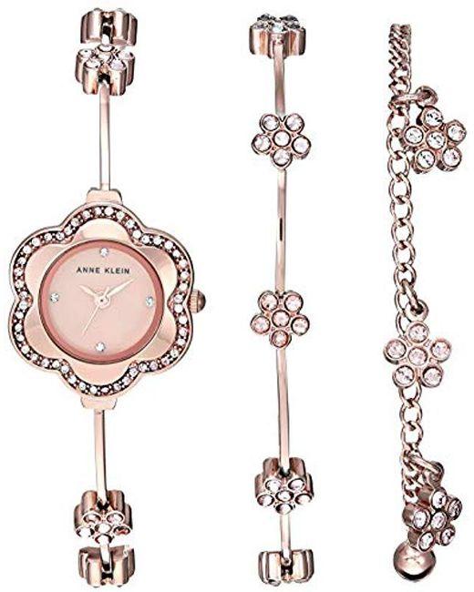 Anne Klein - Metallic Ak/3182rgst Multi-colored Swarovski Crystal Accented Rose Gold-tone Watch And Bracelet Set - Lyst