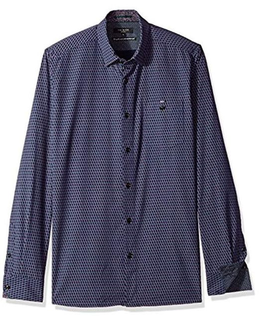 Ted Baker - Blue Wyne Modern Slim Fit Ls Polynosic Geo Print for Men - Lyst
