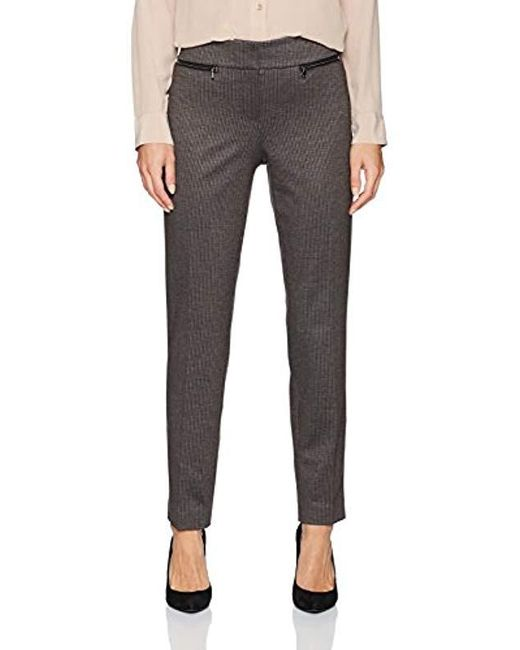 Nine West - Black Mini Houndstooth Pant With Zipper Pockets - Lyst