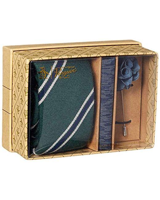 Original Penguin Green 3-piece Pattern Tie, Pocket Square & Lapel Pin Box for men