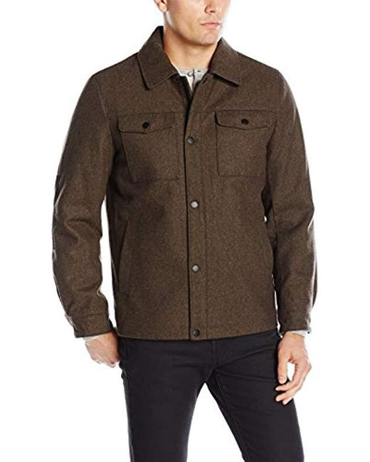 Nautica - Brown Wool Melton Snap Front Jacket for Men - Lyst