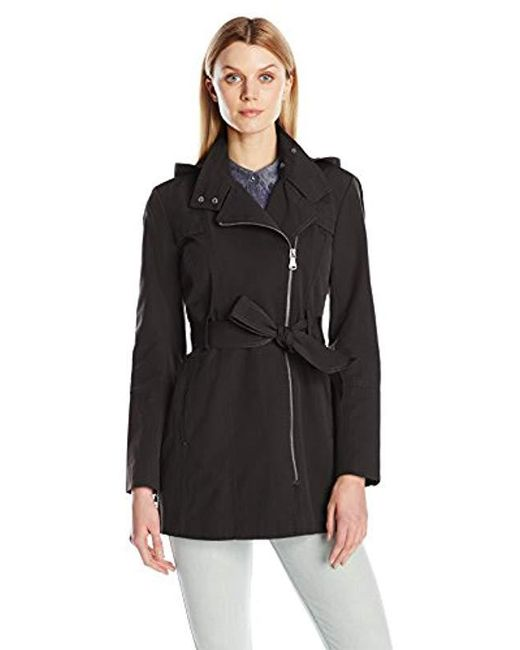 Vince Camuto - Black Water Repellent Belted Trench Coat - Lyst
