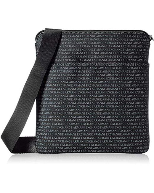 adfb3dde57a3 Lyst - Armani Exchange All Over Logo Pouch Bag in Black for Men ...