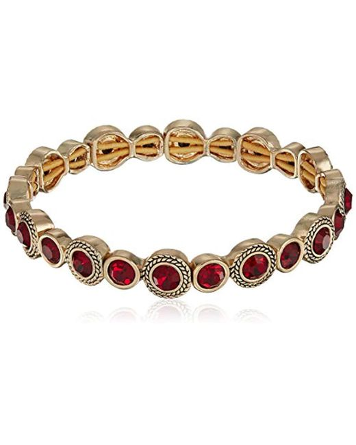 Napier - Red Stone Stretch Bracelet, Gold Red - Lyst