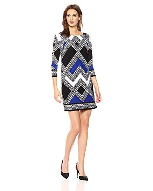 Vince Camuto Blue Patterned Long Sleeve T Body Dress