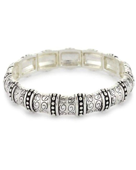 Napier - Metallic Silver-tone Textured Stretch Bracelet - Lyst