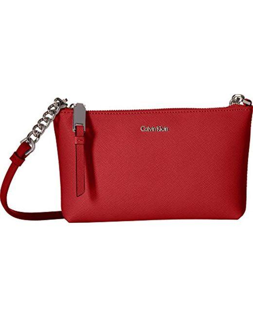 Calvin Klein - Red Hayden Key Item Saffiano Leather Crossbody - Lyst