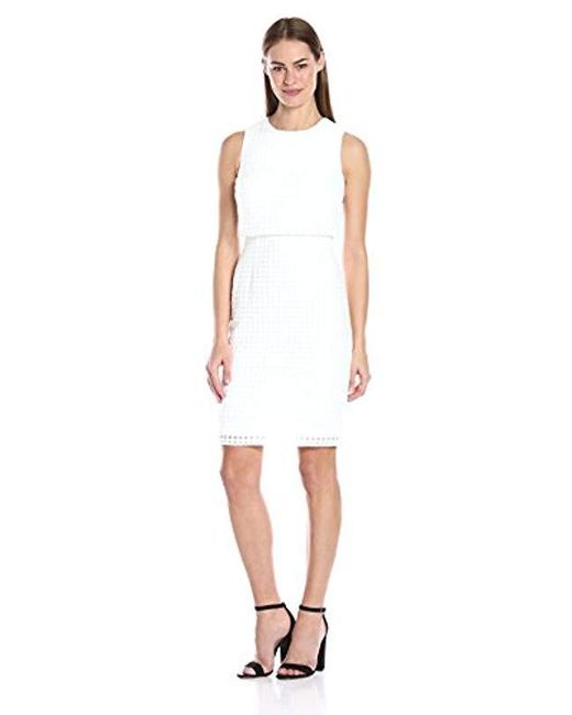 Calvin Klein - White Sleeveless Windowpane Double-layer Dress - Lyst