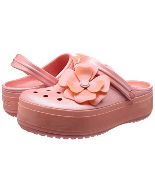 561f268fe439 ... Crocs™ - Pink Crocband Platform Vivid Blooms Clog - Lyst ...