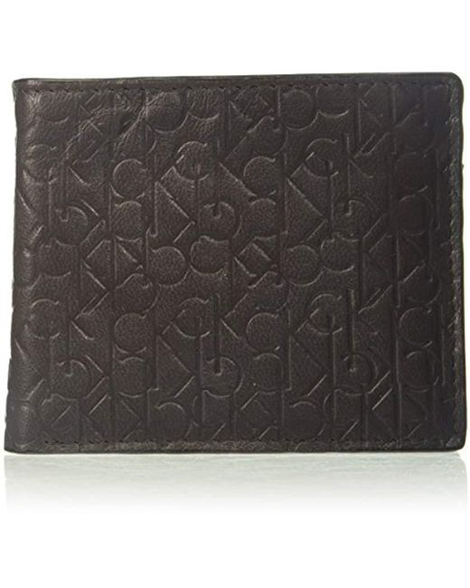 Calvin Klein - Brown Logo Embossed Billfold W/coin Pocket for Men - Lyst